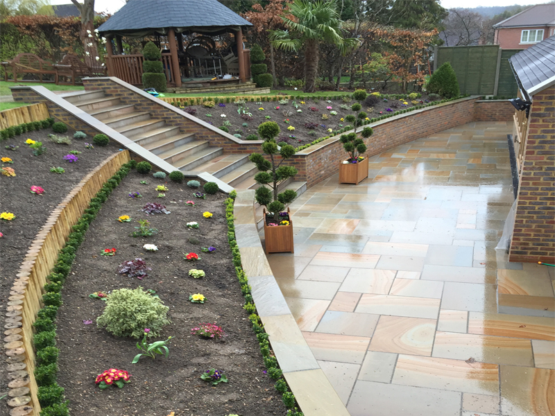 Full Landscaping including New patio, Stairs, Walls, bedding area and Conservatory